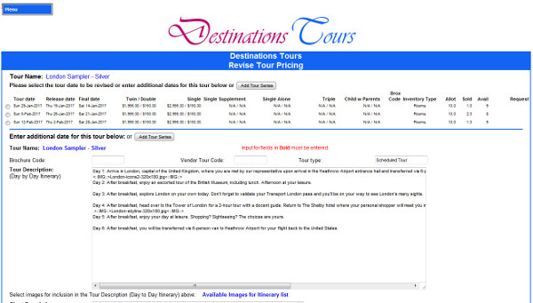 multiple level inventory for scheduled tours