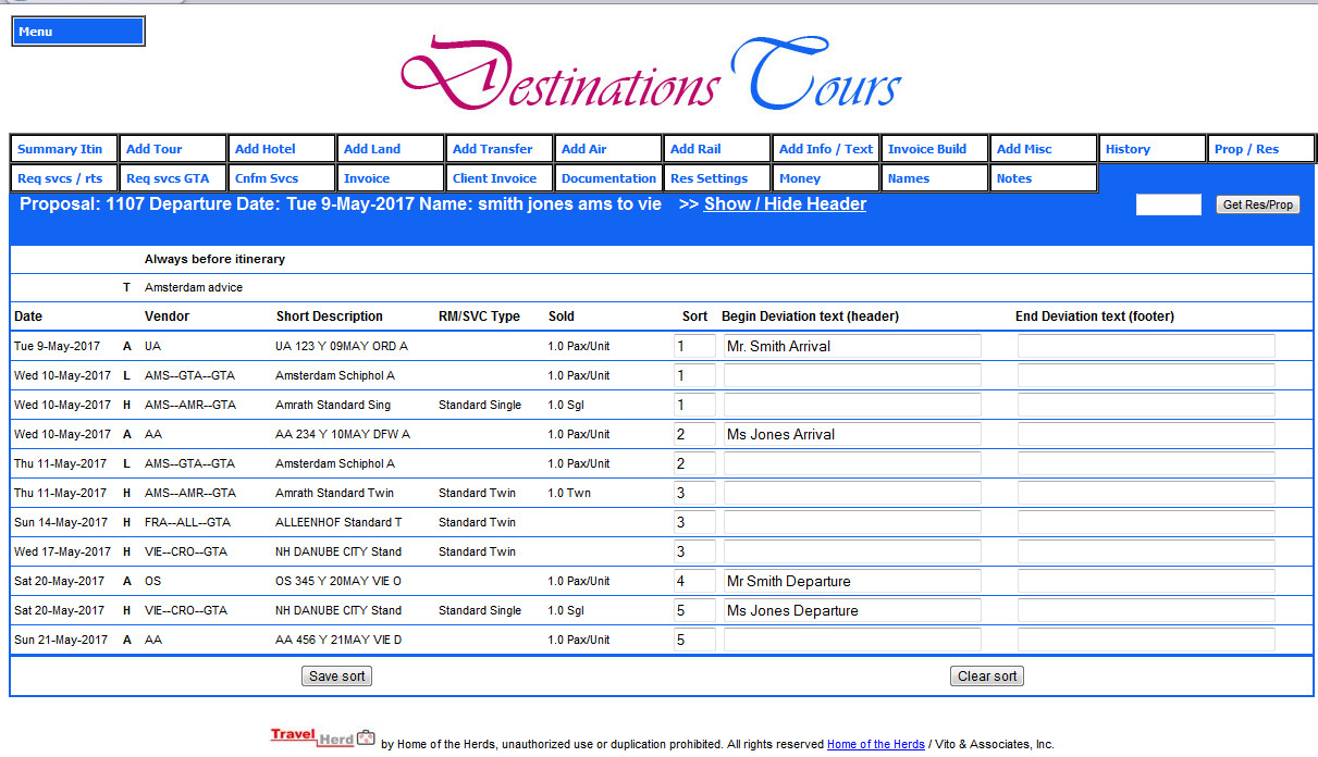 single or multiple itinerary deviation feature travelherd web