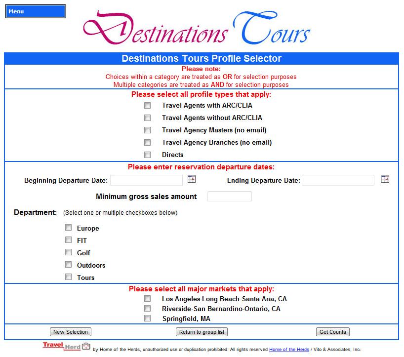 list_segmentation - TravelHerd, web-based FIT tour operating
